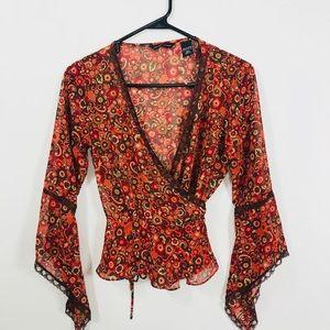 New York &Co floral print wrap blouse woman's XS